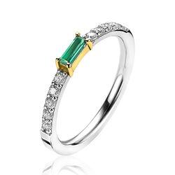 Zinzi zilveren ring bicolor baguette groen ZIR2133G