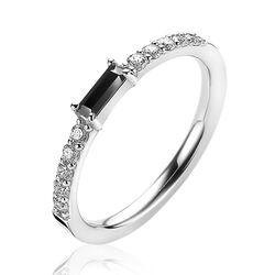Zinzi zilveren ring baguette zirkonia zwart ZIR2133Z