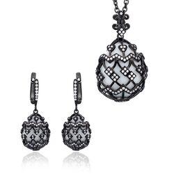 Gezwart zilver sieradenset wit agaat zirkoon Fabergé