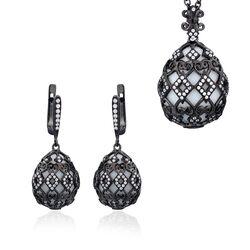 Fabergé set zwart zilver met wit agaat en zirkoon