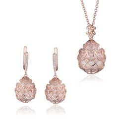Sieradenset rosé zilver wit agaat zirkoon Fabergé