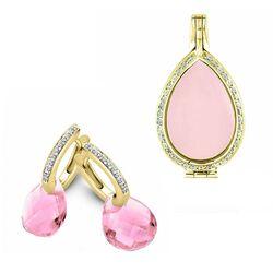 MY iMenso sieradenset verguld zirkonia met roze steen
