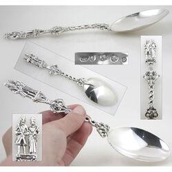 zilveren huwelijkslepel bruidspaar William en Mary