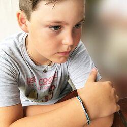 Little Star leren armband Luca blauw groen leer met zilver