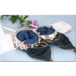 blauw velours collecte zakken met zilveren houder