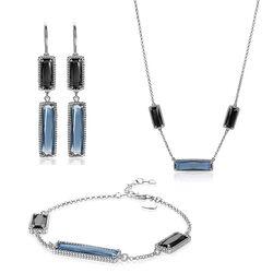 Zinzi sieradenset rechthoek zwart en blauw kleursteen