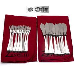 Dubbelrond zilveren visbestek 12 delig