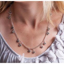 Zilveren sieradenset collier en oorbellen kroontjes Raspini