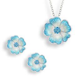 Nicole Barr set bloem lichtblauw