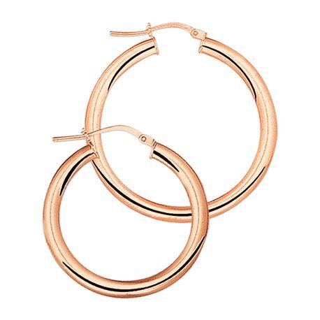 Rosé gouden oorringen 26 mm
