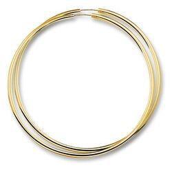 Gouden creolen of oorringen in verschillende diameters met een ronde buis van 2,5 mm en een insteeksluiting Zilver.nl juweliers