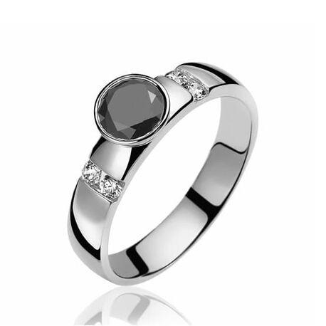 Zinzi zir511z zilveren ring met zwart en wit zirkonia