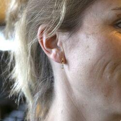 14 Karaats gouden oorstekers elk bezet met 3 briljanten