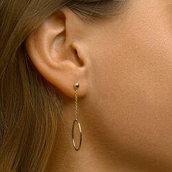 Geelgouden oorbellen ovaal bungelend ornament