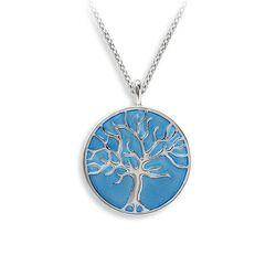 Zilveren ketting met een levensboom hanger blauw emaille Nicole Barr NN0428NN