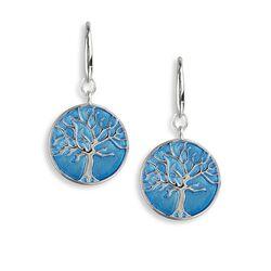 Nicole Barr zilveren oorhangers blauwe levensboom