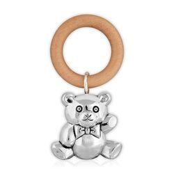 Zilveren rammelaar grote beer houten bijtring