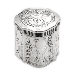 antiek zilver lodereindoosje cartouche