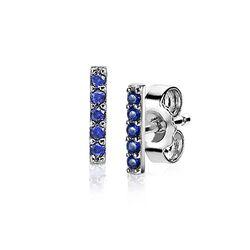 Zinzi zilveren staaf oorknoppen blauw ZIO1689B