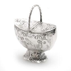 Zilver miniatuur mand gemaakt in Nederland in 1892