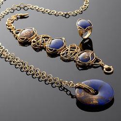 verguld zilver sieradenset met Lapis Lazuli van Giovanni Raspini