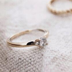 Bicolor gouden ring met birljant 0,19 ct