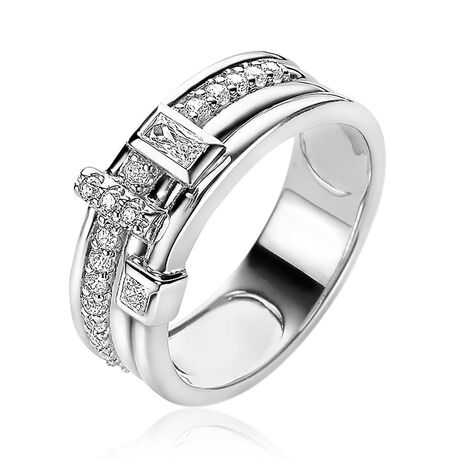 Zinzi zilveren multi-look ring wit zirkonia ZIR2012