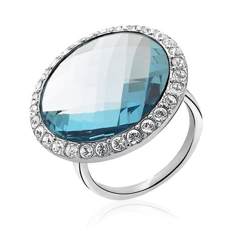 Zinzi zilveren ring blauw wit zirkonia Zir628b