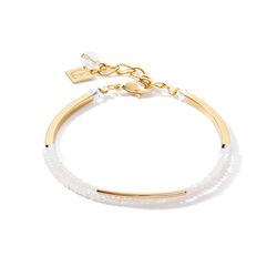 Coeur de Lion armband waterval goud met wit glas 4960-30-1400