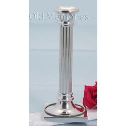 Stel zilveren kandelaars ribbuis vierkante voet