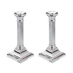 Stel zilveren kandelaars vierkante voet ribbuis 18 cm