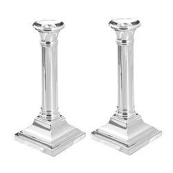 Stel zilveren kandelaars 18 cm hoog vierkante voet glad