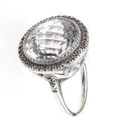 Zilveren ring kristal markasiet