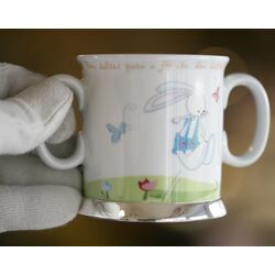 Porseleinen kinderbeker konijn zilver montuur