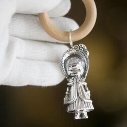 Zilveren rammelaar meisje houten bijtring