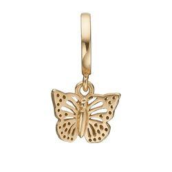 Christina verguld zilver bedel vlinder 610-G32