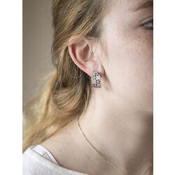 Gouden oorbellen / oorclips smaragd robijn saffier briljant occasion