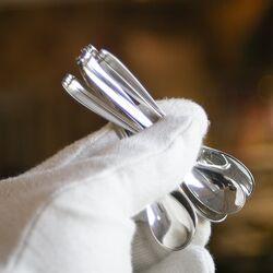 Mooie set van 6 zilveren espressolepeltjes van de Fam. Driessen