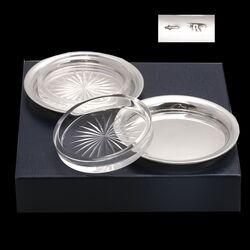 zilveren glazen onderzetters of boterbakjes gemaakt in Schoonhoven rond 1920