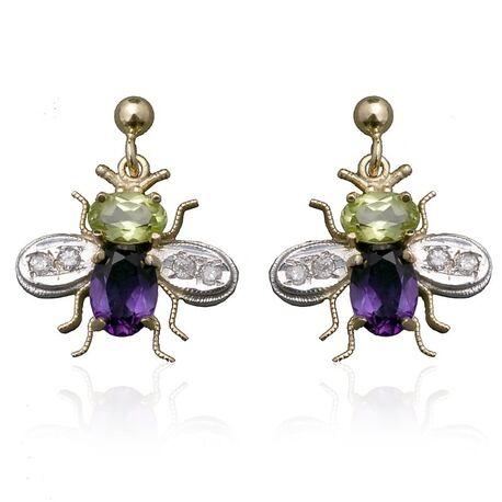 Gouden oorbellen vliegjes bezet met peridot, amethist en diamant