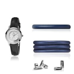 Christina horloge met watch cord set blauw zilver
