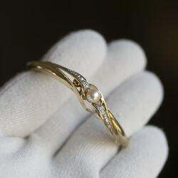 Gouden armband diamant met parel, occasion in uitstekende staat