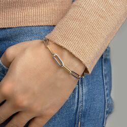 Bicolor paperclip armband goud zilver