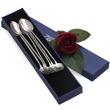 Zilveren longdrink lepels blad voor de koffie of een sorbet