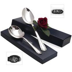 Dienbestek in bijzonder art-deco model zilveren aardappellepel en groentelepel