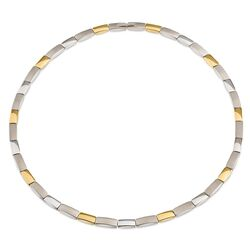 Boccia Bicolor collier rechthoekige schakels 08043-02