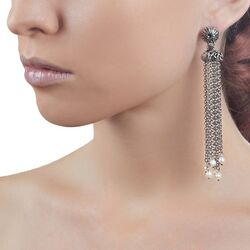 Giovanni Raspini Sicily oorbellen zilveren waterval oorbellen met schelpen koraal en parels