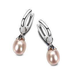 MY iMenso zilveren creolen en parel aanhangers roze