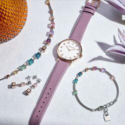 Coeur de Lion horloge rosé met paarsroze leren bandje