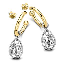 Verguld zilver oorstekers Tubo met creoli aanhangers Circles